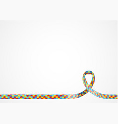 autism awareness ribbon background vector image