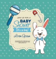 baby shower boy invitation card vector image vector image