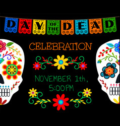 Card for day of the dead vector