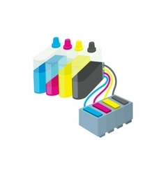 Cartridges for colour inkjet printer icon vector