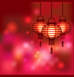 Chinese lantern blurred background vector image vector image