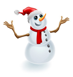 Christmas snowman wearing santa hat vector