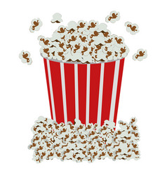 Color background with popcorn container vector