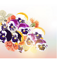 cute background with bouquet of flowers vector image