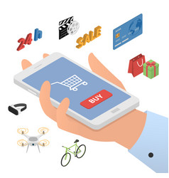 Design concept of mobile shopping vector
