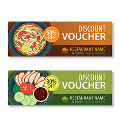 Discount Voucher Template With Thai Food Vector Image  Lunch Voucher Template