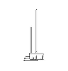 dustpan and broom in monochrome silhouette vector image