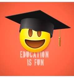 Education is fun emoticon laughing vector image vector image