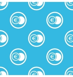Euro coin sign blue pattern vector image
