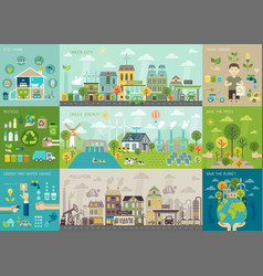green city infographic set with charts and other vector image vector image