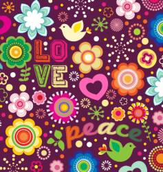 groovy love and peace background vector image vector image