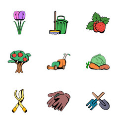 grower icons set cartoon style vector image vector image