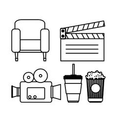 hand drawing camera clapper soda couch popcorn vector image