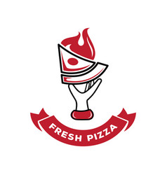 hand held fresh pizza with fire logo vector image vector image