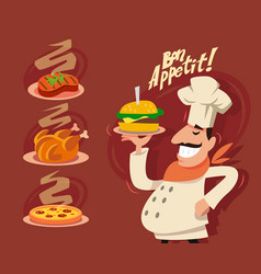 happy chef serving the dish vector image vector image