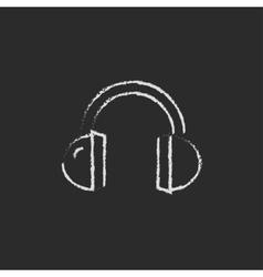 Headphone icon drawn in chalk vector