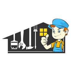 Home repairman with tool vector