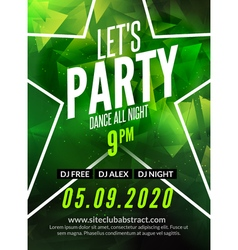 Lets party design poster Night club flyer template vector image
