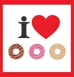 Love donuts icon vector