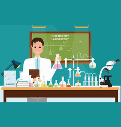 Male scientist at chemical laboratory science vector