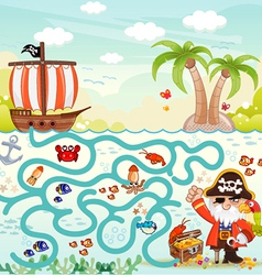Maze game pirate try to find the treasure vector