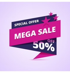 Mega sale banner special offer badge vector