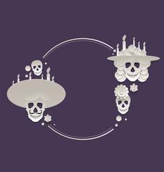 Mexican holiday dia de muertos set of skull vector