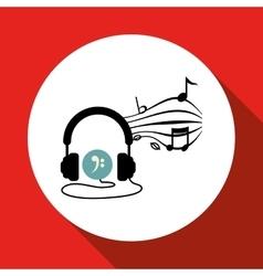 Music design headphones icon isolated vector