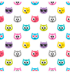 Pattern with colorful cat heads vector