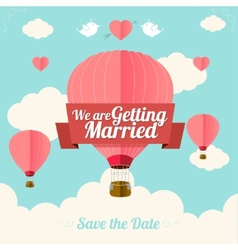 Pink hotair ballons fly with clouds vector image vector image