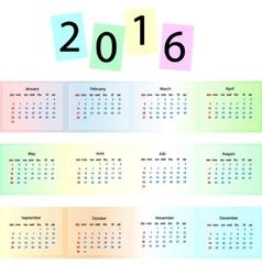 rainbow calendar 2016 vector image vector image