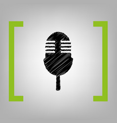 Retro microphone sign black scribble icon vector