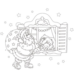 Santa with Christmas gifts vector image vector image
