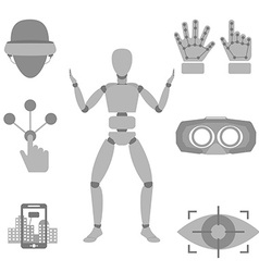 Set of icons of devices for virtual reality - vector