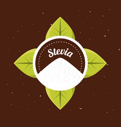 Stevia natural sweetener organic label vector
