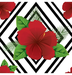 Tropic summer colorful flowers vector