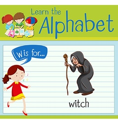 Flashcard alphabet w is for witch vector