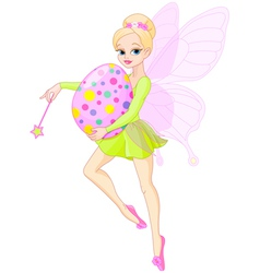 Fairy flying with Easter egg vector image