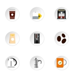 Beverage icons set flat style vector