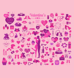 valentines day icon set romantic design elements vector image