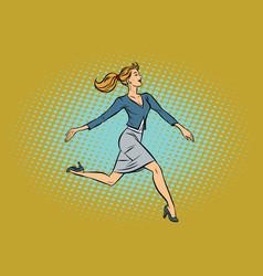 Beautiful businesswoman elegantly runs vector