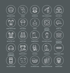 Personal protective equipment line icons gas mask vector