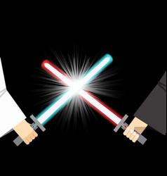 Combat of light sword with spark effect vector