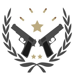 2 pistols in laurel wreath emblem vector