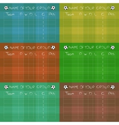 Soccer championship group stages on colored fields vector