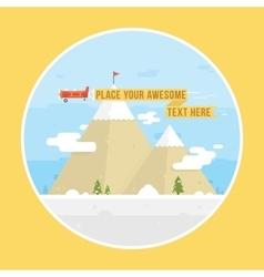 Mountains and airplane graphic vector