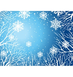 Winter sky with trees and snowflakes vector