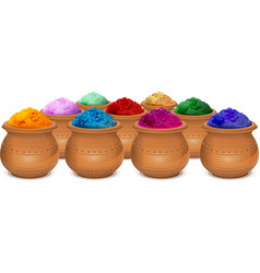 Ceramic pot of paint holi festival of colors holi vector