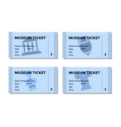 Set of blue tickets to the museum with a picture vector