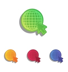 Earth globe with cursor colorfull applique icons vector